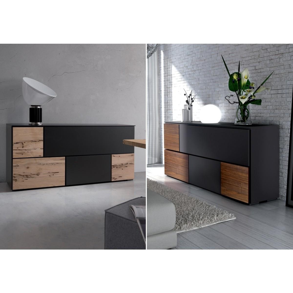 lowboard schwarz walnuss tv schrank mit vier t ren 180 cm tv schr nke lowboards m bel. Black Bedroom Furniture Sets. Home Design Ideas