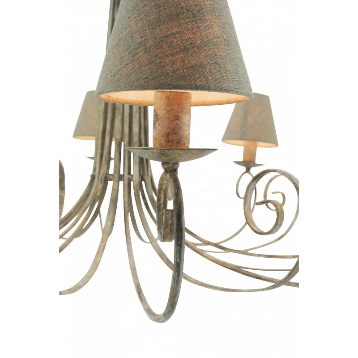 kronleuchter grau creme landhaus 5 armig h ngeleuchte im landhausstil durchmesser 60 cm. Black Bedroom Furniture Sets. Home Design Ideas