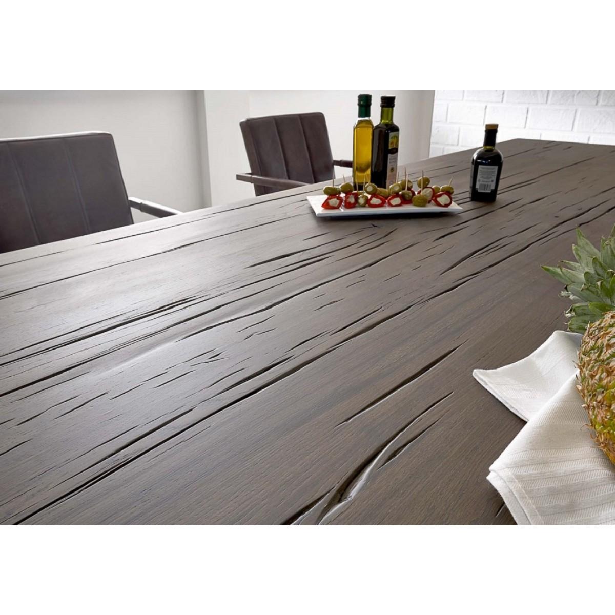 esstisch eiche tischplatte tisch massiv eiche industriedesign gestell aus metall ma e 200 x 100 cm. Black Bedroom Furniture Sets. Home Design Ideas