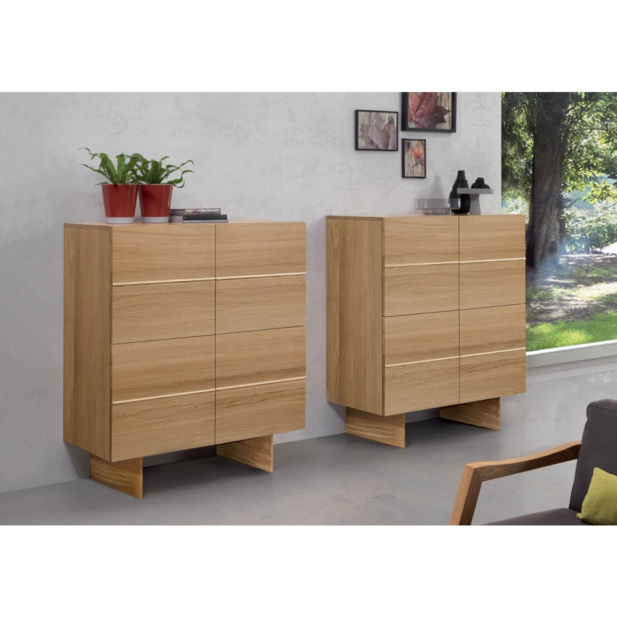 highboard eiche furniert schrank h he 120 cm. Black Bedroom Furniture Sets. Home Design Ideas