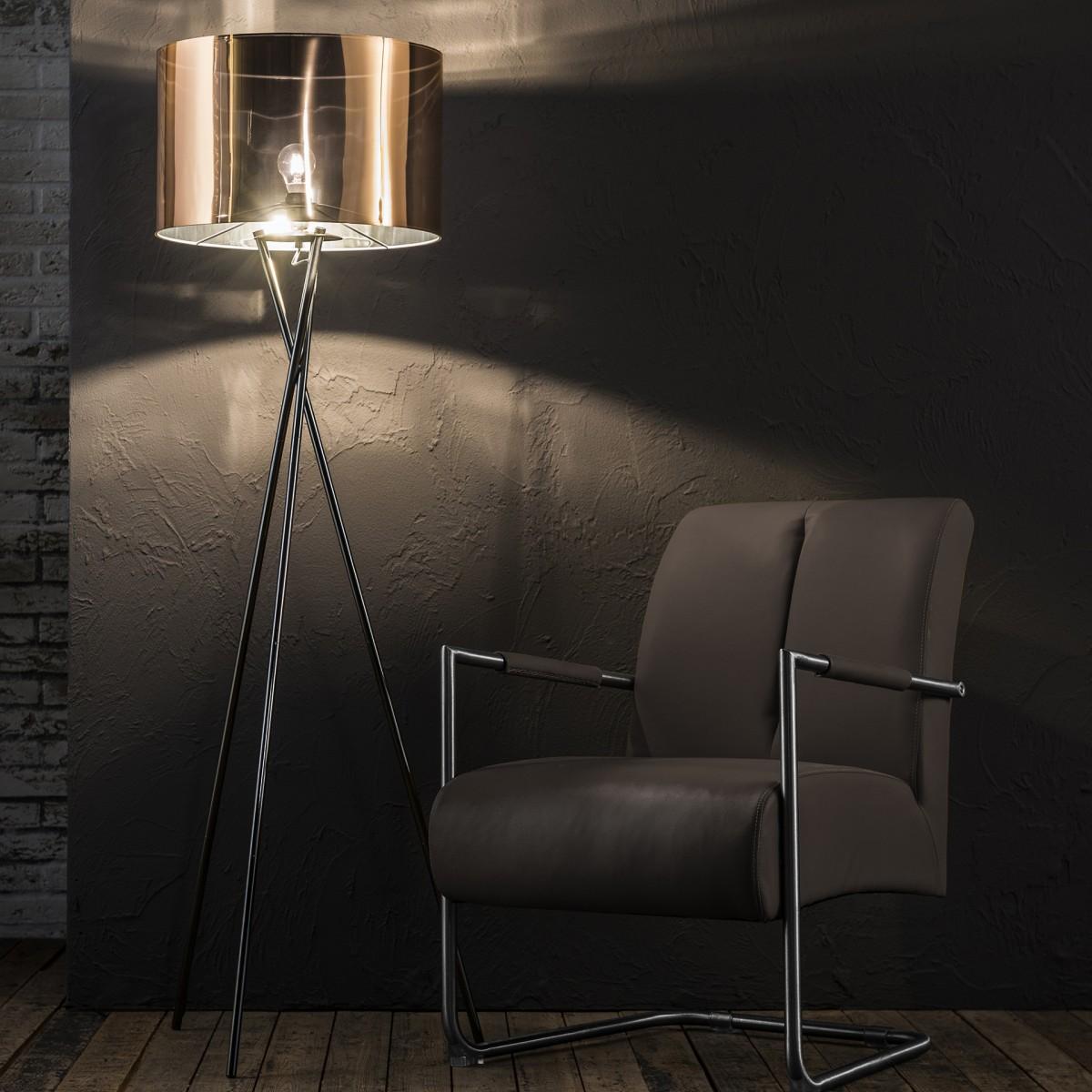 stehlampe silber kupfer stehleuchte mit lampenschirm. Black Bedroom Furniture Sets. Home Design Ideas