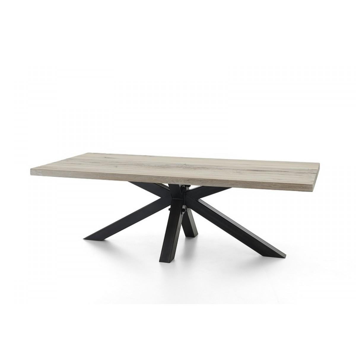 esstisch eiche tischplatte tisch massiv eiche industriedesign gestell aus metall ma e 300 x 100 cm. Black Bedroom Furniture Sets. Home Design Ideas