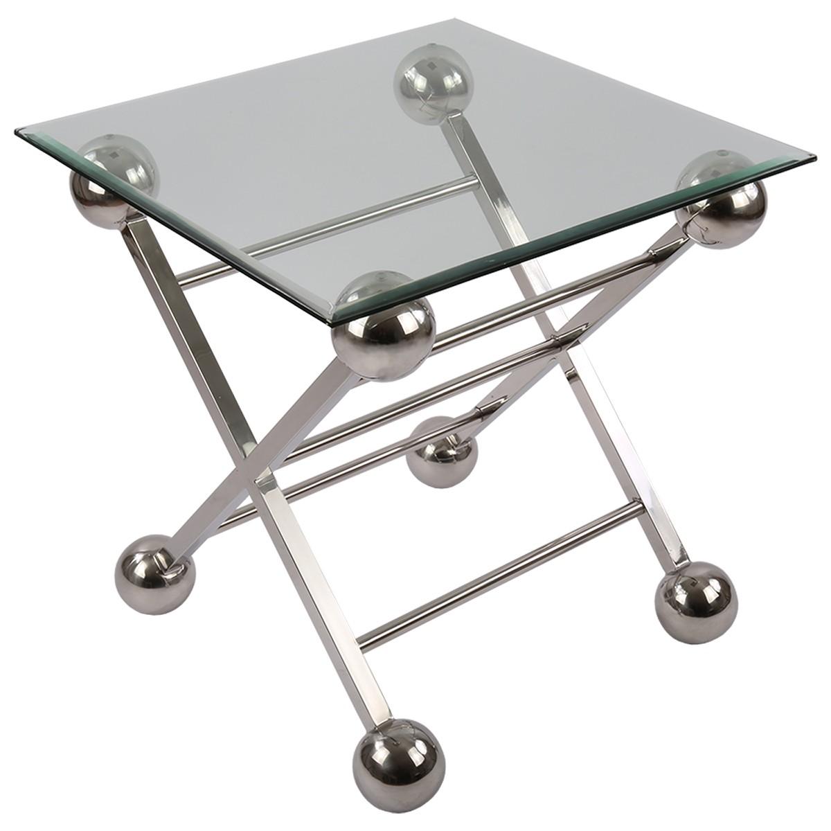 Beistelltisch glas metall tisch glas verchromt metall for Beistelltisch glas metall