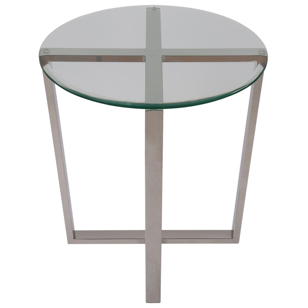 beistelltisch rund glas metall tisch glas verchromt metall h he 61 cm. Black Bedroom Furniture Sets. Home Design Ideas