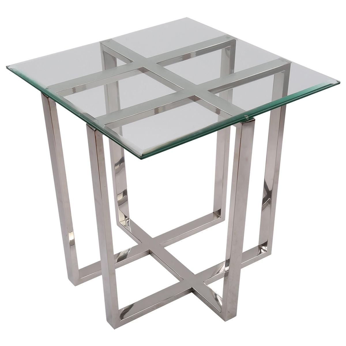 beistelltisch quadratisch glas metall tisch glas. Black Bedroom Furniture Sets. Home Design Ideas