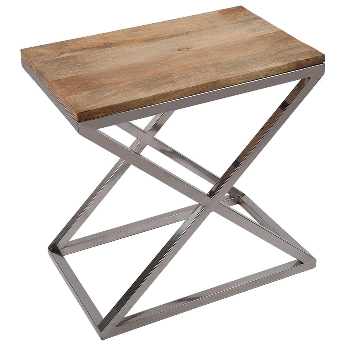 beistelltisch rechteckig holz metall tisch verchromt. Black Bedroom Furniture Sets. Home Design Ideas