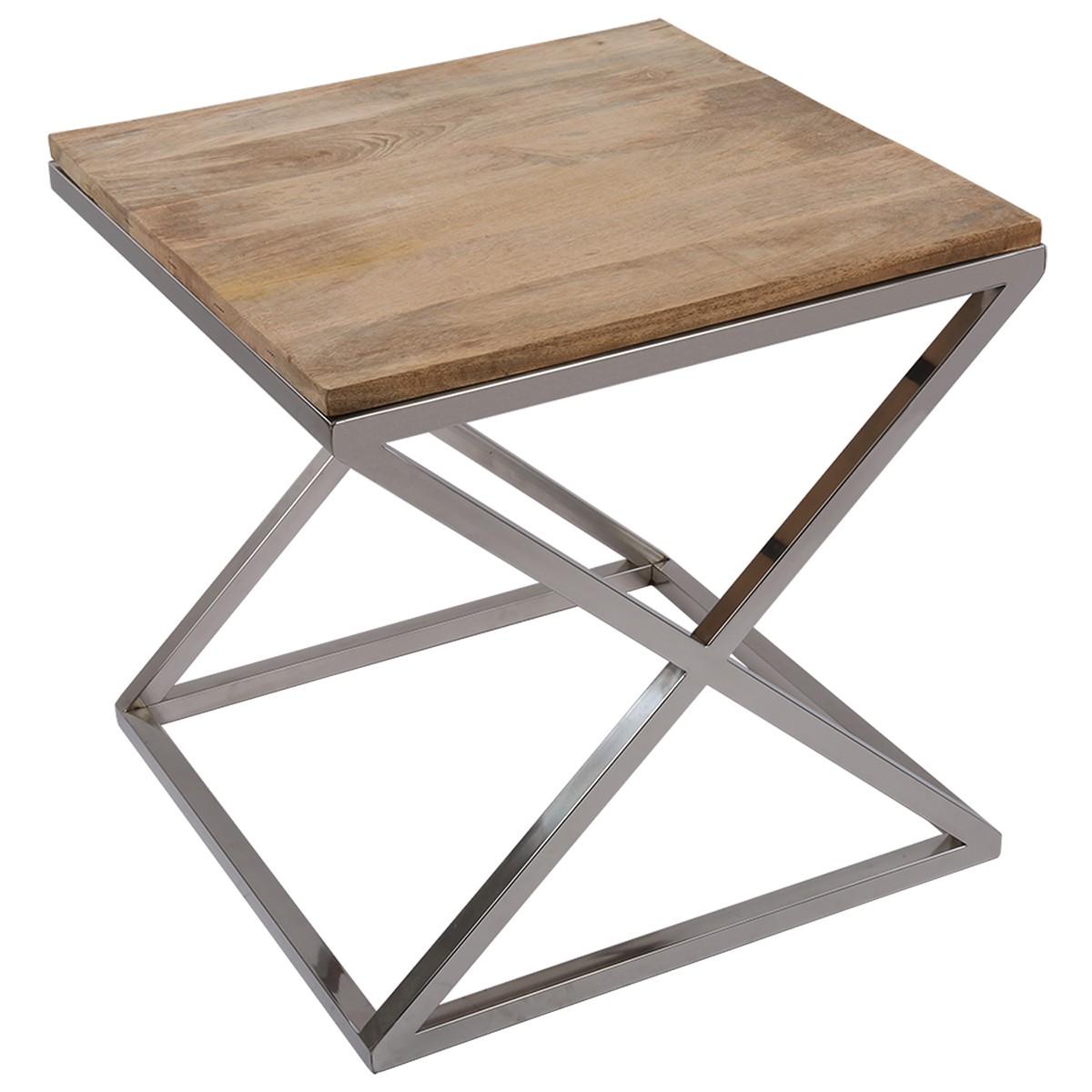 beistelltisch quadratisch holz metall tisch verchromt. Black Bedroom Furniture Sets. Home Design Ideas