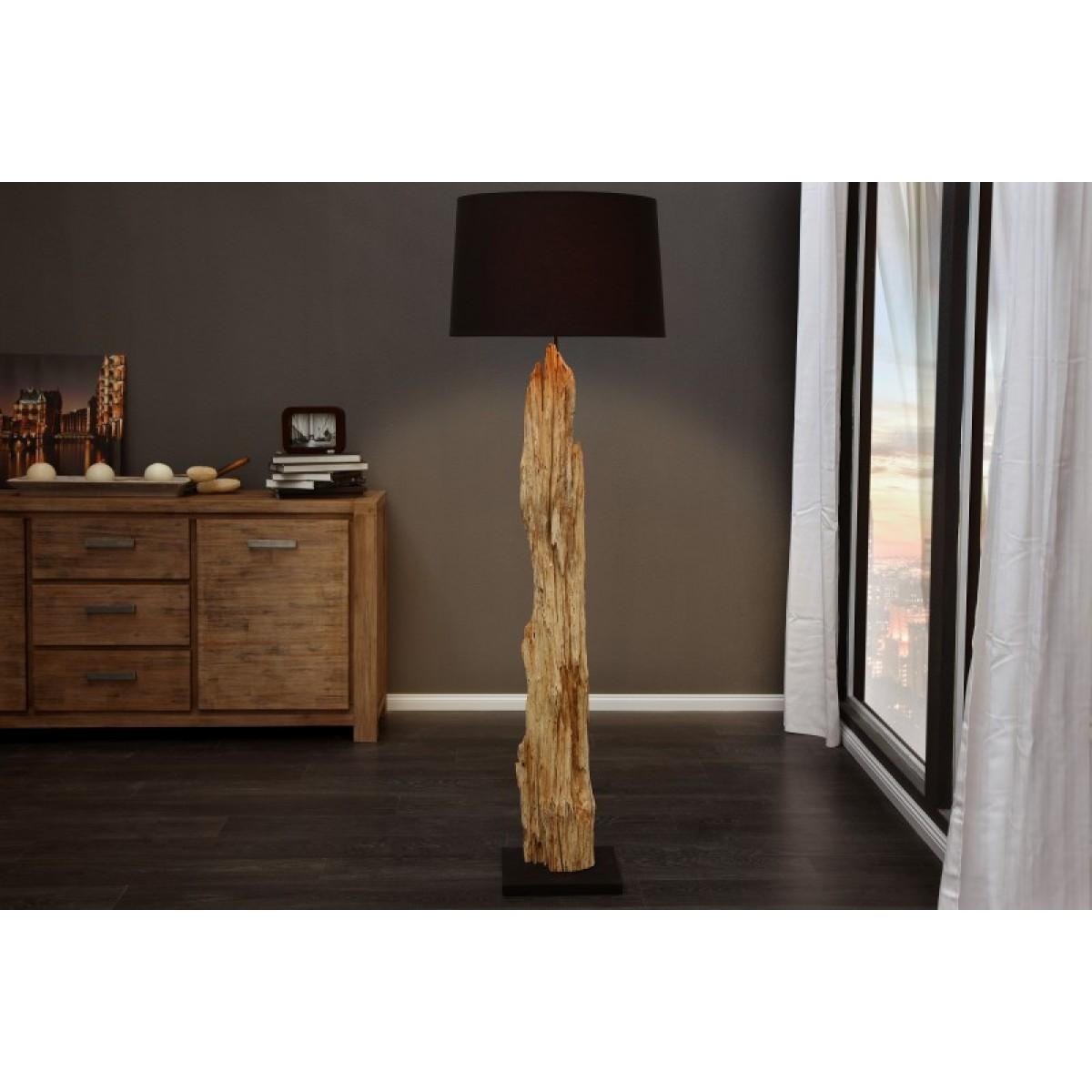 Stehleuchte Schwarz Holz Stehlampe Altholz Mit Lampenschirm