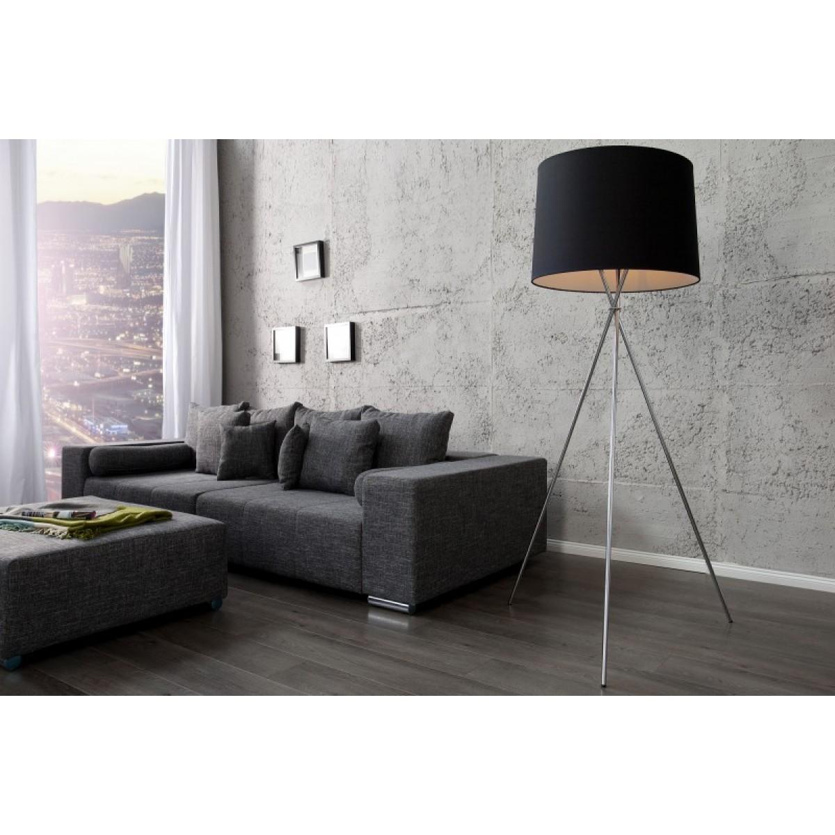 stehleuchte schwarz silber mit lampenschirm schwarz stehlampe mit schwarzen lampenschirm. Black Bedroom Furniture Sets. Home Design Ideas
