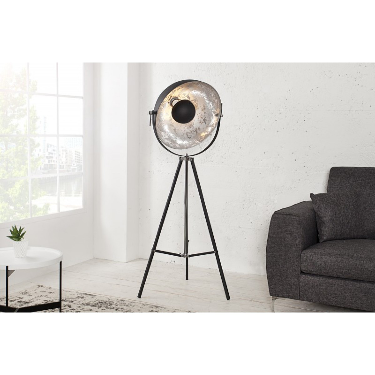 Stehleuchte Spot Schwarz Silber Stehlampe Schwarz Industrie