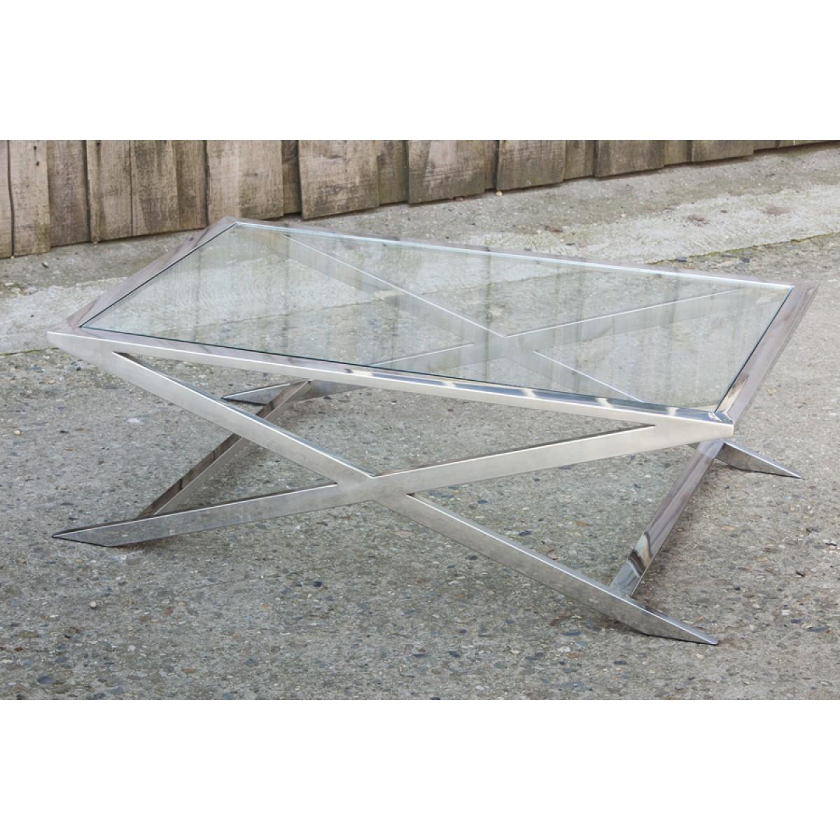 Couchtisch Verchromt Aus Metall Und Glas 120 X 80 Cm