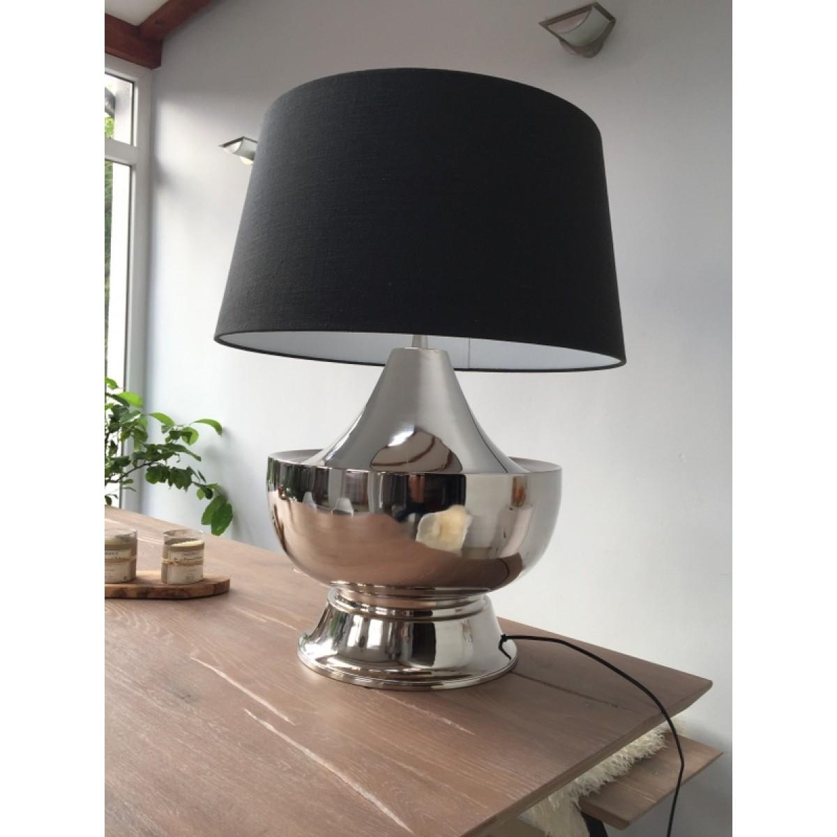 tischlampe silber mit lampenschirm anthrazit tischleuchte verchromt h he ca 80 cm. Black Bedroom Furniture Sets. Home Design Ideas