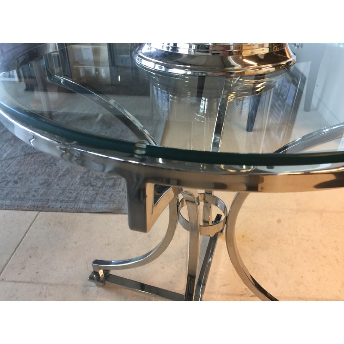Tisch Rund Silber Glas Metall Beistelltisch Rund Verchromt Metall