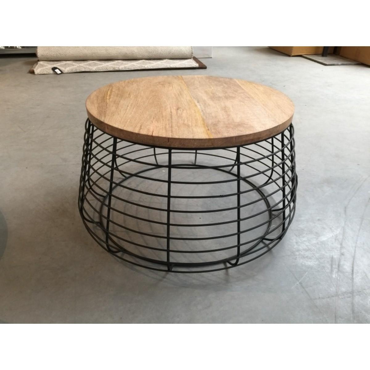Beistelltisch Industriedesign Metall Holz Couchtisch Metall Schwarz