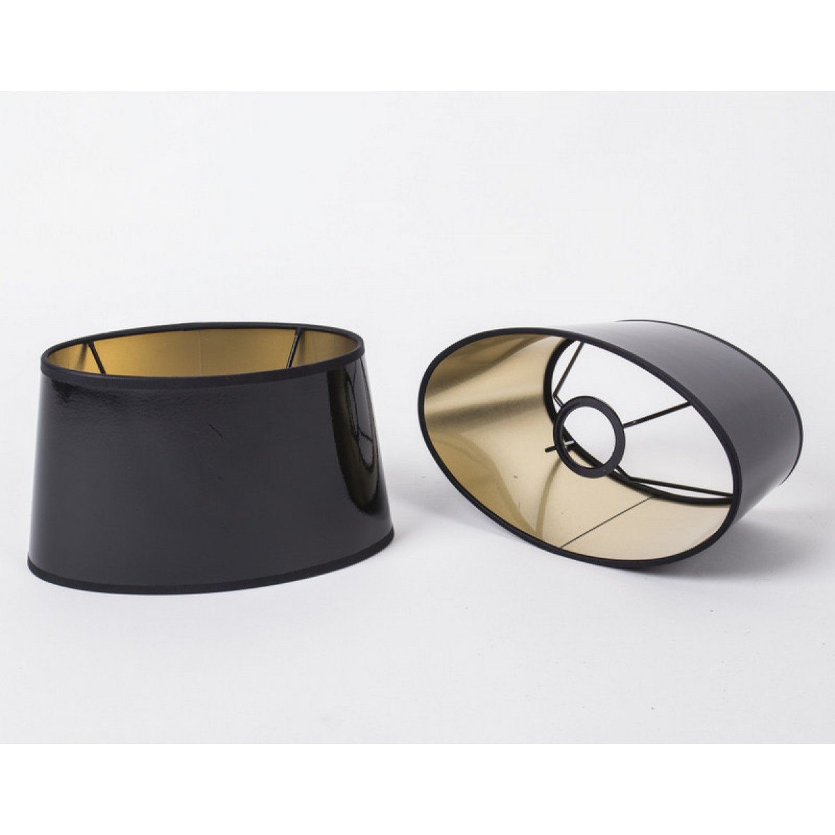 ovaler lampenschirm f r tischleuchte lampenschirm schwarz hochglanz 25 cm. Black Bedroom Furniture Sets. Home Design Ideas