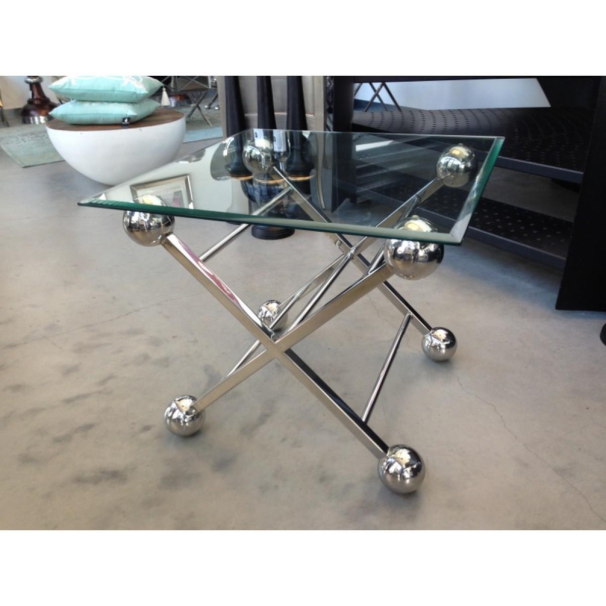 beistelltisch glas metall tisch glas verchromt metall. Black Bedroom Furniture Sets. Home Design Ideas