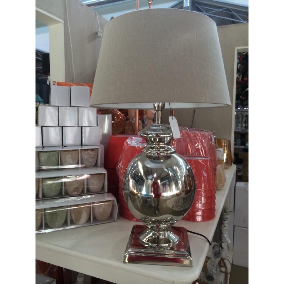 tischlampe farbe silber mit lampenschirm farbe leinen. Black Bedroom Furniture Sets. Home Design Ideas