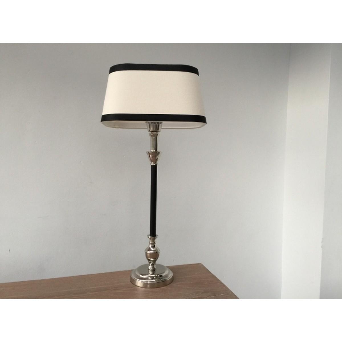 tischleuchte mit lampenschirm schwarz wei tischlampe schwarz verchromt h he 53 cm. Black Bedroom Furniture Sets. Home Design Ideas