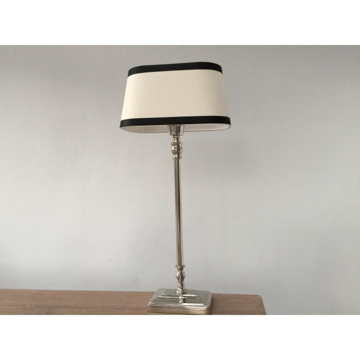 tischleuchte mit lampenschirm schwarz wei tischlampe verchromt h he 57 cm. Black Bedroom Furniture Sets. Home Design Ideas