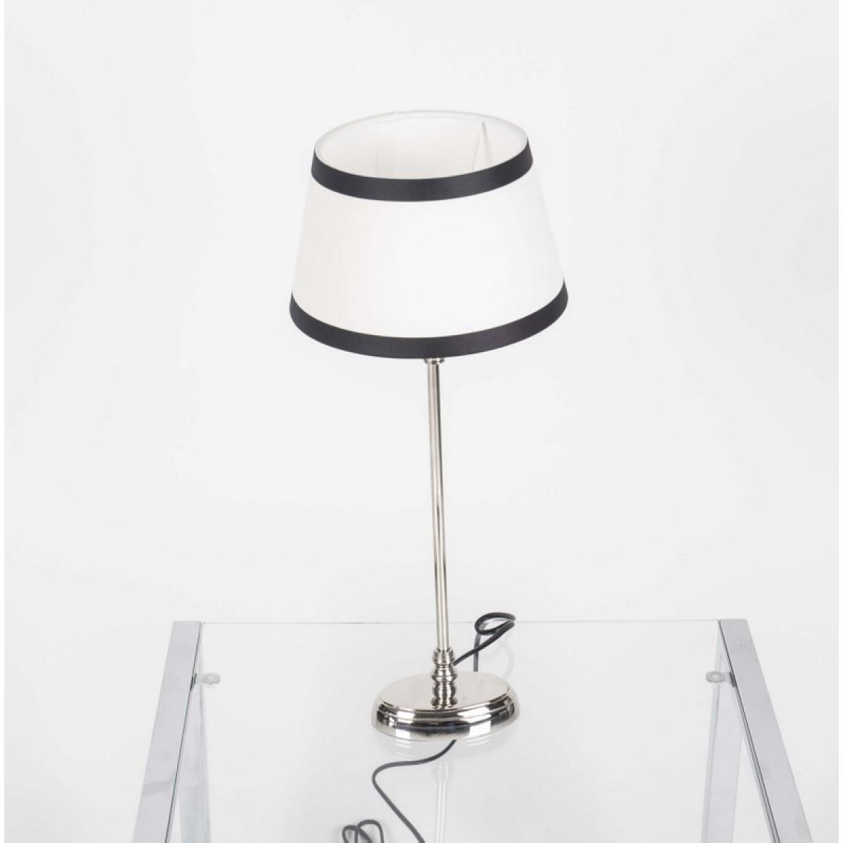 tischlampe mit lampenschirm wei schwarz tischlampe verchromt h he 50 cm. Black Bedroom Furniture Sets. Home Design Ideas