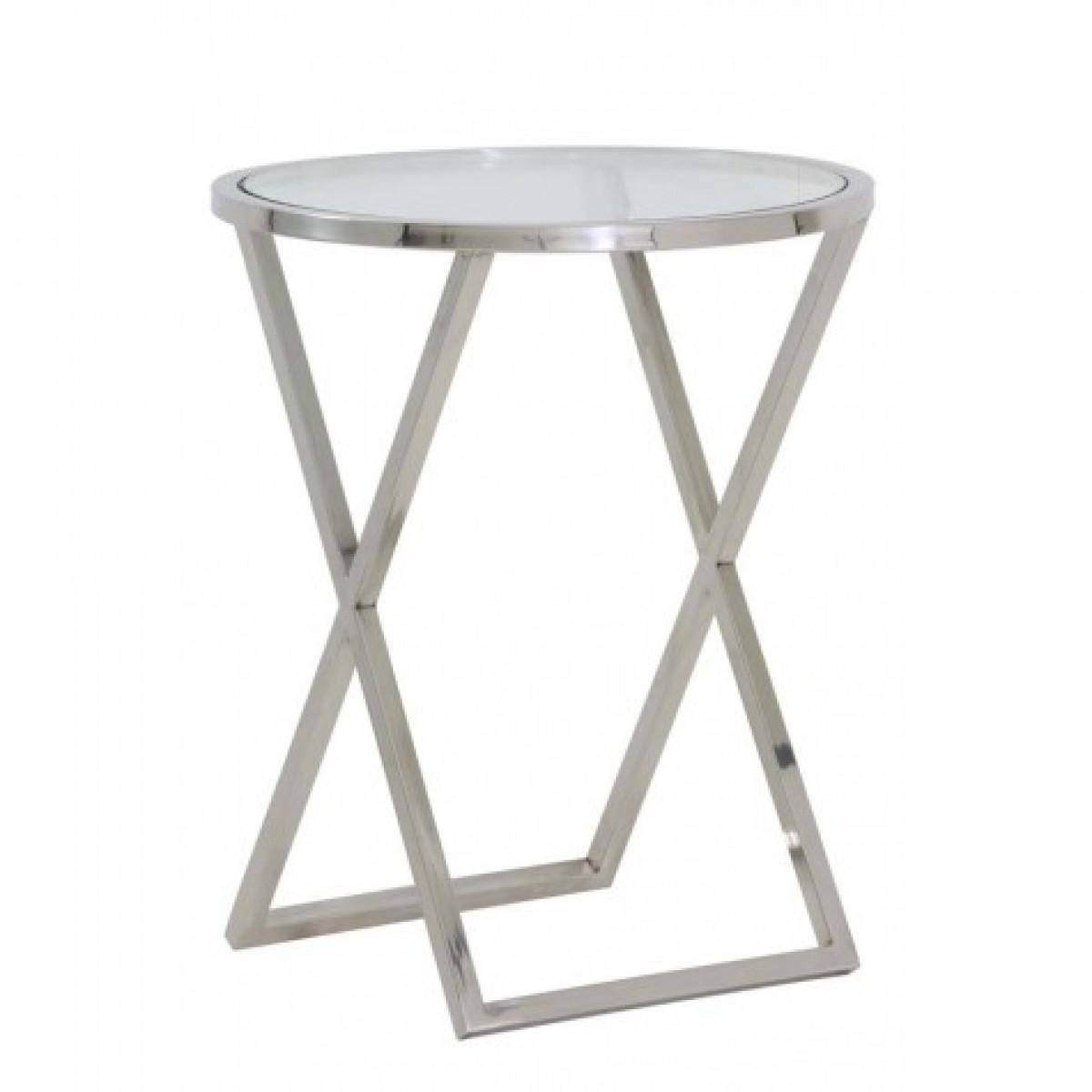 Entzückend Beistelltisch Glas Metall Dekoration Von Silber Glas-metall Verchromt, Verchromt Glas, Durchmesser 50