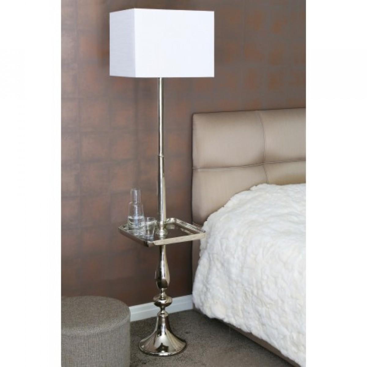 stehlampe beistelltisch silber lampenschirm stehleuchte. Black Bedroom Furniture Sets. Home Design Ideas