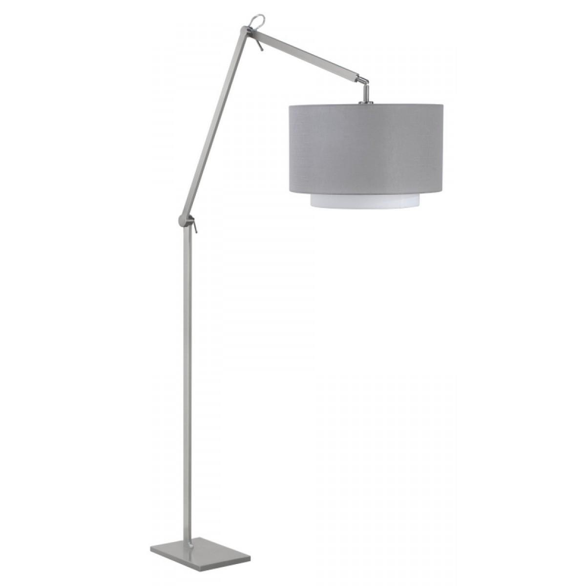 stehlampe mit lampenschirm grau wei stehleuchte silber satiniert. Black Bedroom Furniture Sets. Home Design Ideas