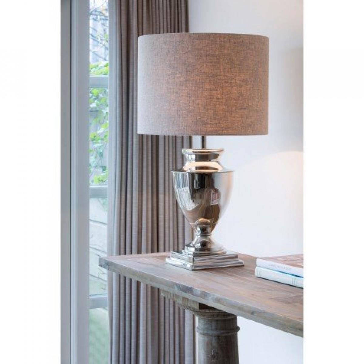 tischlampe silber tischleuchte verchromt mit lampenschirm durchmesser 23 50 cm tischleuchten. Black Bedroom Furniture Sets. Home Design Ideas