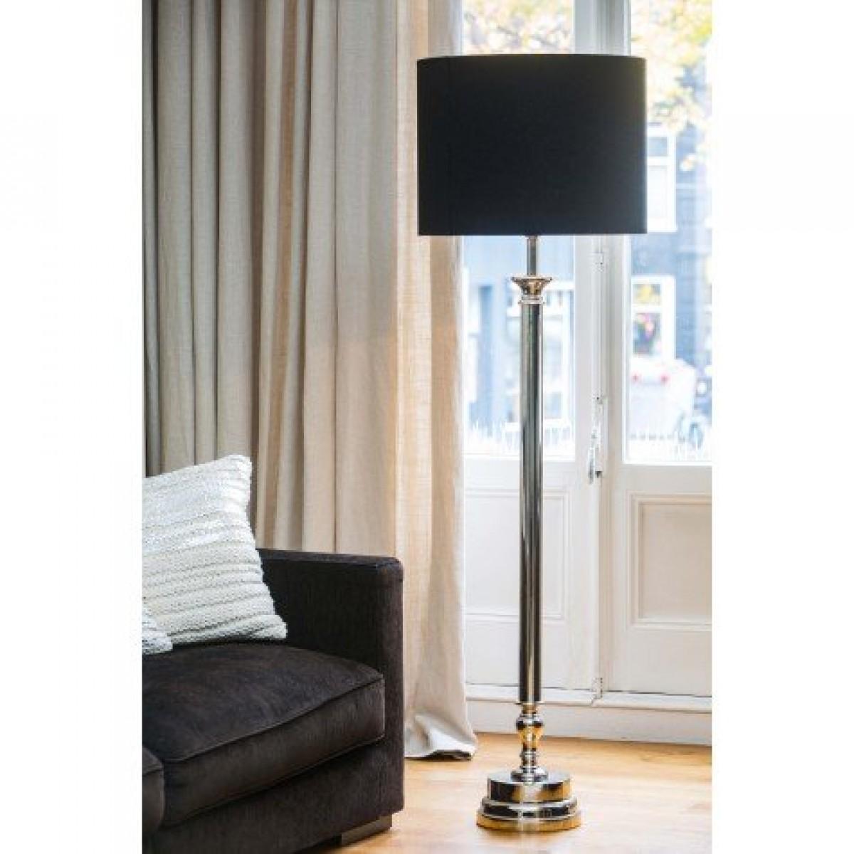 stehlampe mit schwarzen lampenschirm stehleuchte silber landhaus h he 160 cm. Black Bedroom Furniture Sets. Home Design Ideas
