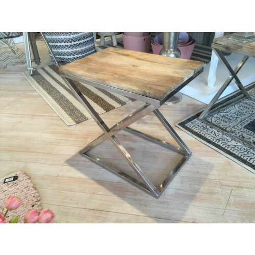 beistelltisch rechteckig holz metall tisch verchromt metall holzplatte h he 60 cm. Black Bedroom Furniture Sets. Home Design Ideas