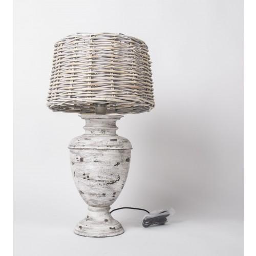 tischlampe vintage mit lampenschirm rattan tischleuchte im landhausstil h he 65 cm. Black Bedroom Furniture Sets. Home Design Ideas