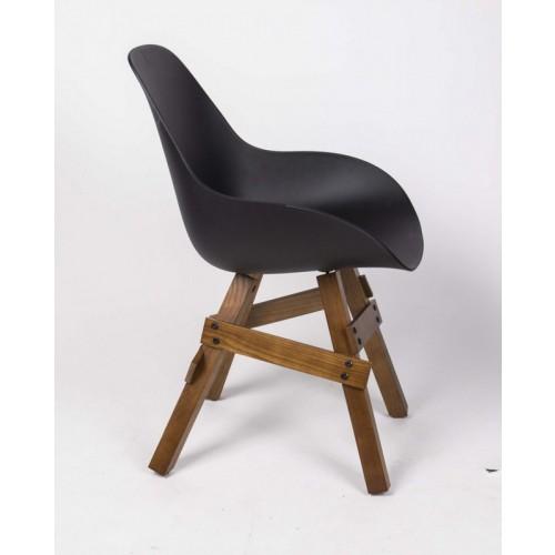 Design Stuhl Mit Armlehne Schwarz, Gestell Aus Massivholz, Sitzhöhe 46 Cm