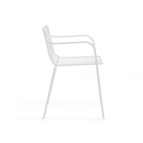 Stuhl weiß mit Armlehne Metall stapelbar, Gartenstuhl weiß Metall ...