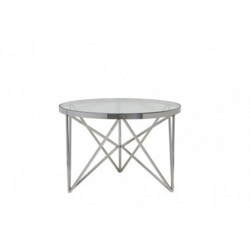 couchtisch rund silber glas metall tisch rund verchromt metall und glas durchmesser 60 cm. Black Bedroom Furniture Sets. Home Design Ideas
