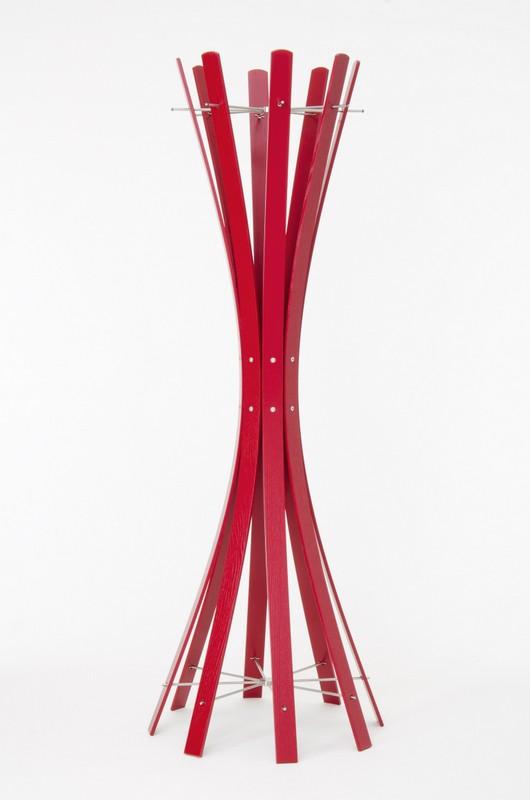 Garderobenständer aus Holz massiv und Edelstahl, moderne Garderobe mit Hacken aus Edelstahl, Ø 58 cm