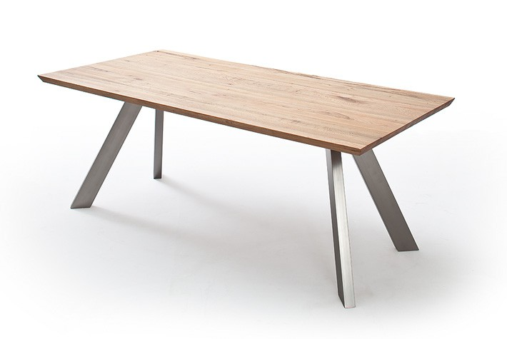 esstisch eiche tischplatte tisch massiv eiche tisch gestell satiniert metall ma e 200 x 100 cm. Black Bedroom Furniture Sets. Home Design Ideas