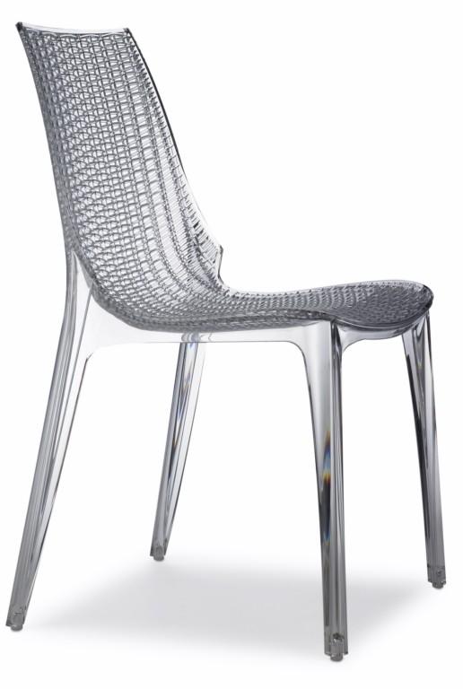 Design Stuhl, transparent, stapelbar, recycelbarer Kunststoff, mit Sitzkissen