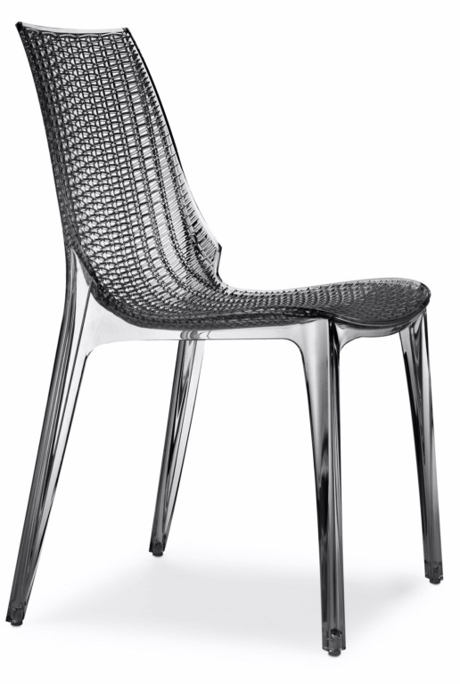 Design Stuhl, transparent grau, stapelbar, recycelbarer Kunststoff, mit Sitzkissen