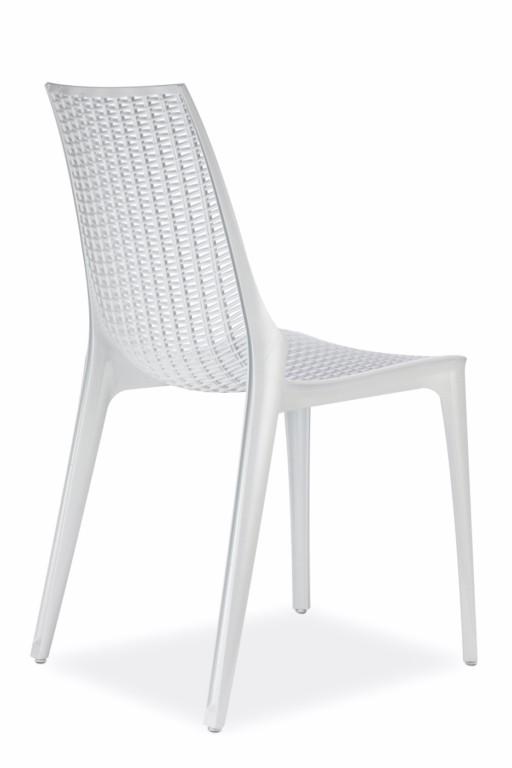 Design Stuhl, Hochglanz weiß, stapelbar, recycelbarer Kunststoff, mit Sitzkissen