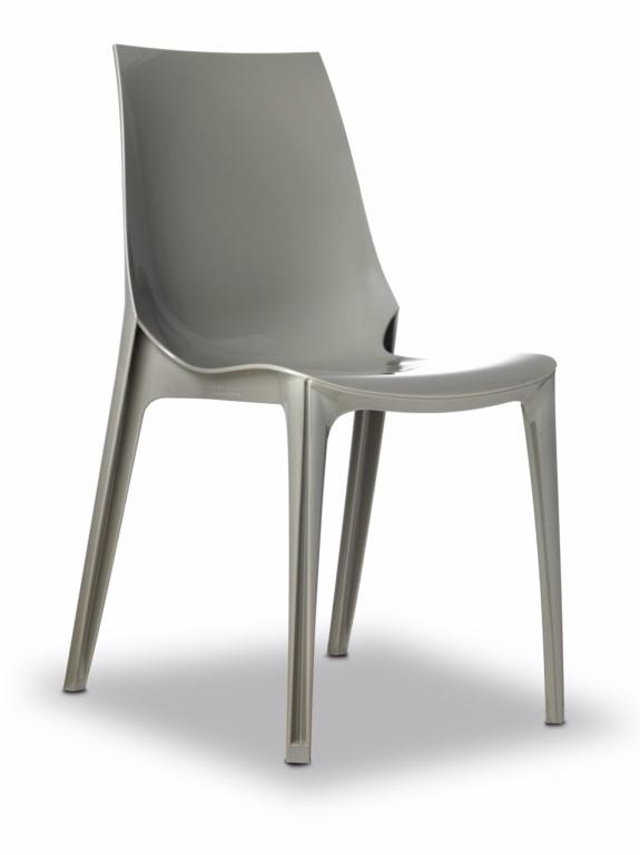 Design Stuhl, taubengrau, stapelbar, recycelbarer Kunststoff