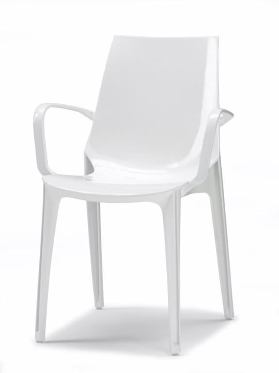 Design Stuhl, Hochglanz weiß, stapelbar, recycelbarer Kunststoff