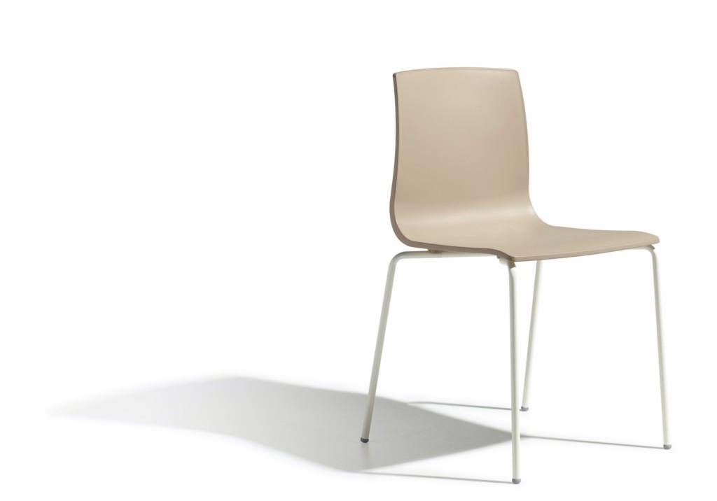 Design Stuhl stapelbar, Farbe taubengrau leinen