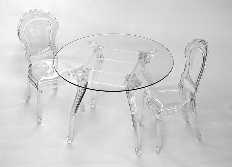 Tisch rund Glas und Policarbonat, Esstisch rund Barock, Tischplatte Glas, Durchmesser 110 cm