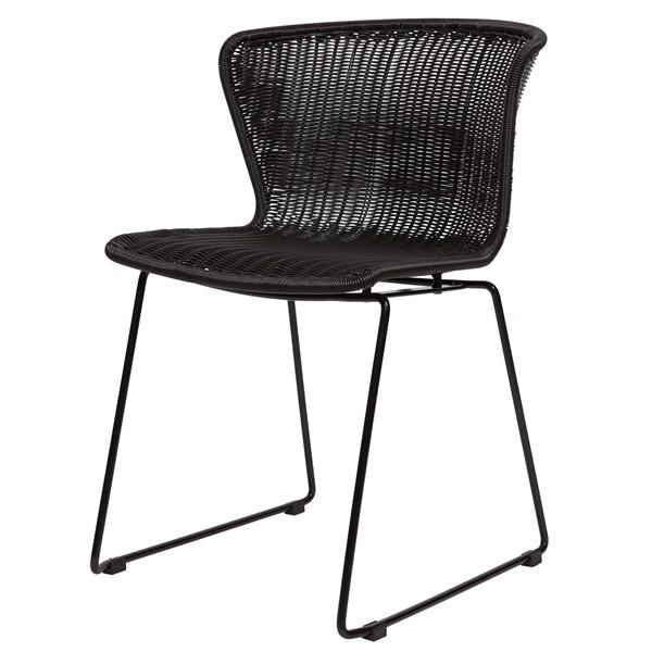 Stuhl Rattan schwarz, Esszimmerstuhl schwarz, 2er Set