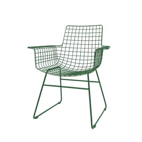 Stuhl Metall grün, Esszimmerstuhl grün, Stuhl mit Armlehne Metall