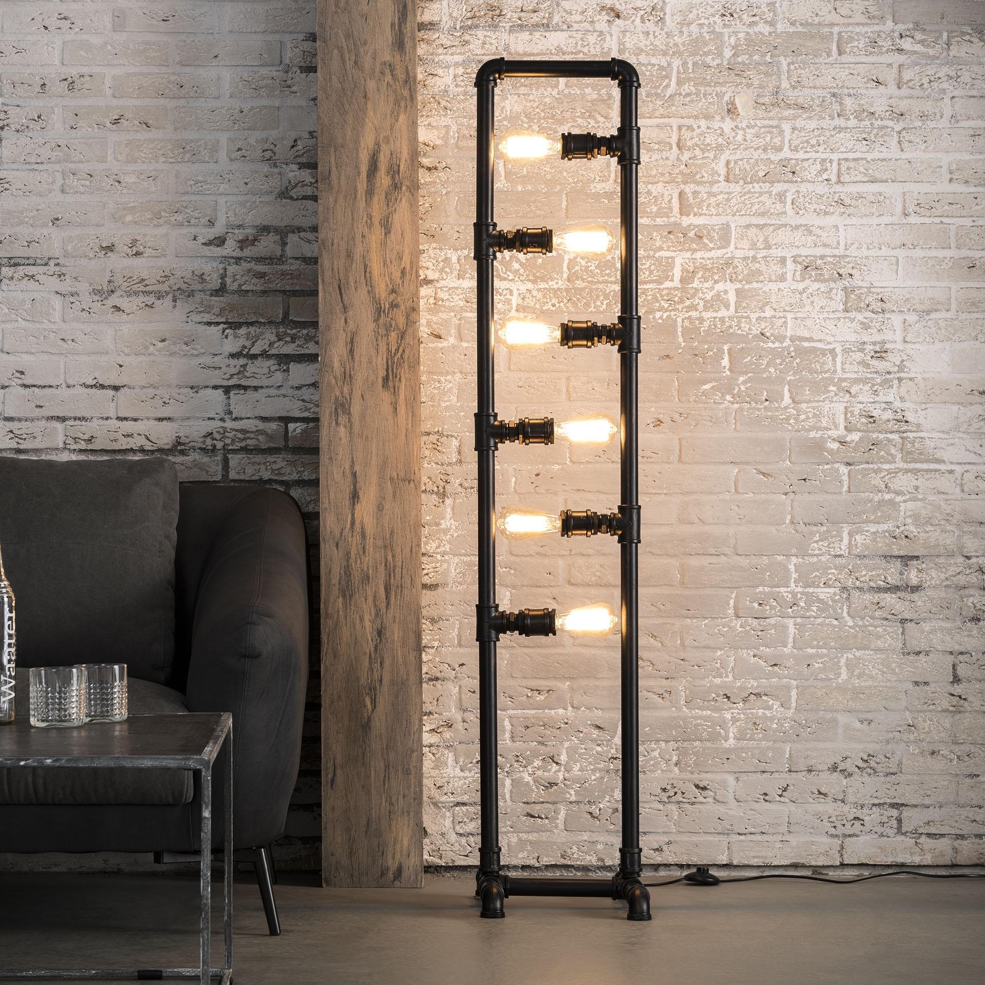 Stehlampe Industrie Metall schwarz, Stehleuchte Rohr schwarz, Höhe 160 cm