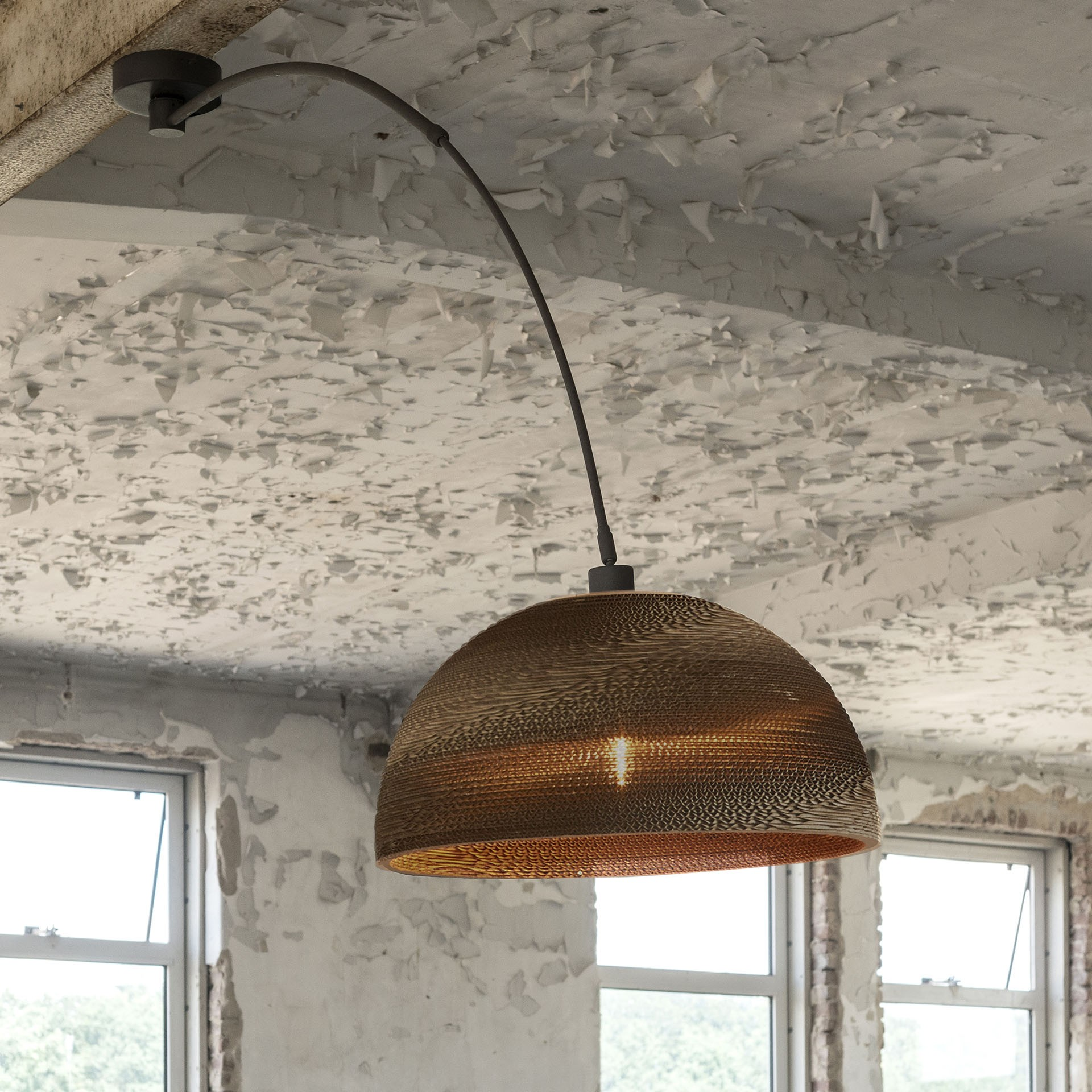 deckenleuchte braun karton deckenlampe karton lampenschirm durchmesser 55 cm. Black Bedroom Furniture Sets. Home Design Ideas