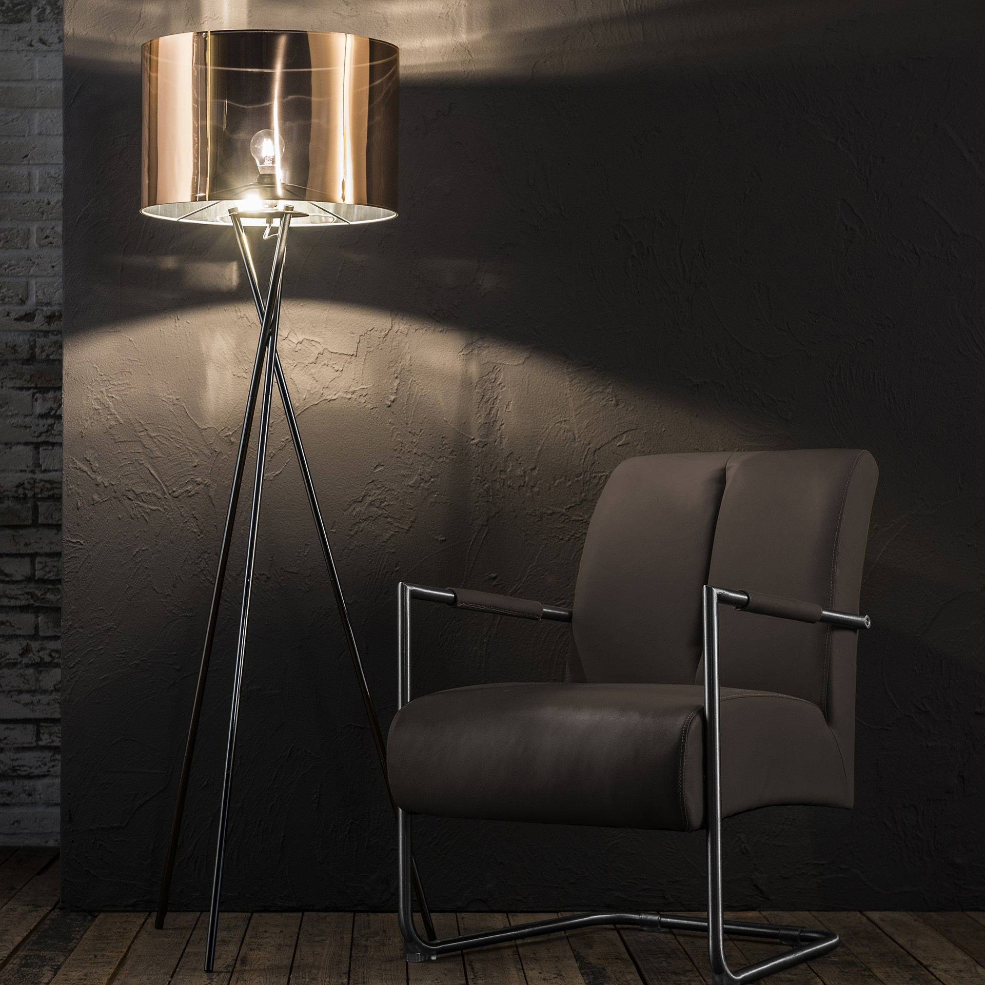 stehlampe silber kupfer stehleuchte mit lampenschirm h he 158 cm. Black Bedroom Furniture Sets. Home Design Ideas