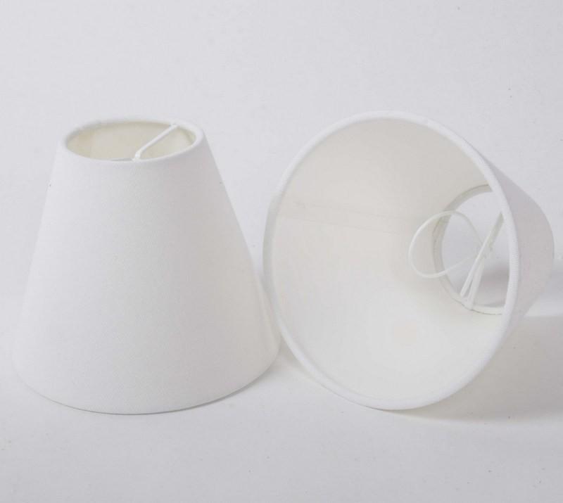 KIemmschirm weiß, Lampenschirm für Kronleuchter, Form rund Ø 14 cm