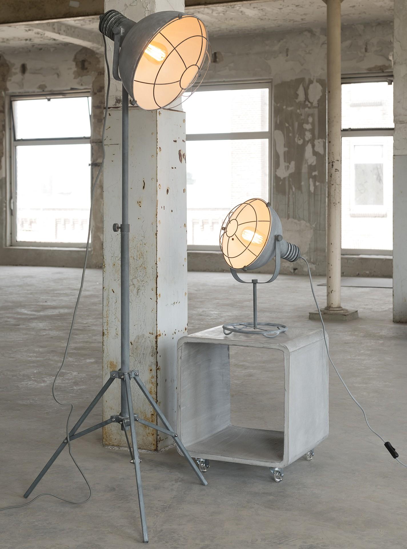 Stehlampe Industrie Metall grau, Stehleuchte grau, Höhe 170 cm
